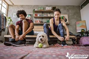Two people getting ready to exercise and practice healthy habits