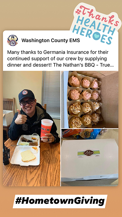 Social media post from Germania's Hometown Giving initiative