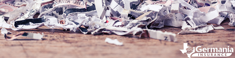Sensitive documents that have been destroyed by a shredder