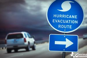 A car following the route from a hurricane evacuation plan.